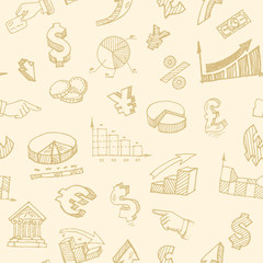 Finance and currency hand-drawn signs seamless background