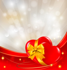 Valentine`s day background. Red heart with ribbon.