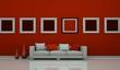 Wohndesign - Sofa vor Bilderwand rot
