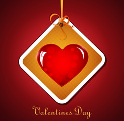 festive background with hanging heart for Valentine's Day