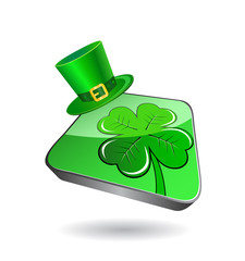 Icon with green clover and patrick's hat