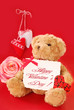 valentine`s greetings from teddy bear