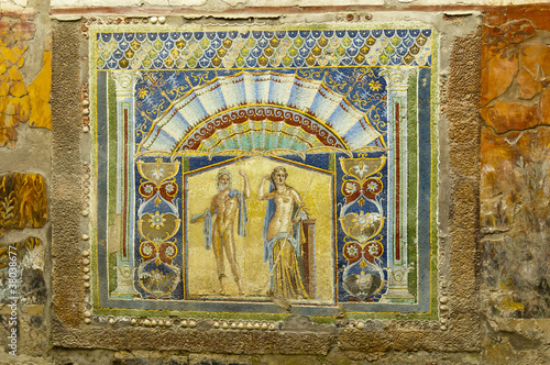 Mosaic of Triton & Amphirite in Buried city of Herculaneum Italy