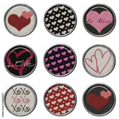 3D Button Set - Glitter