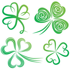 Set of shamrocks.