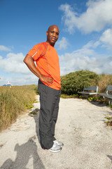 Handsome Man Exercising in Miami South Beach
