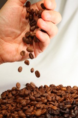 Coffee Beans and Hand