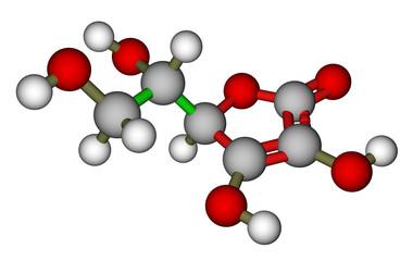 Ascorbic acid molecular model