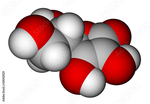 Ascorbic acid space filling molecular model