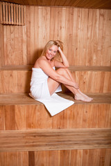 Beautiful woman enjoying a hot sauna