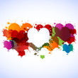 colorful grunge hearts background