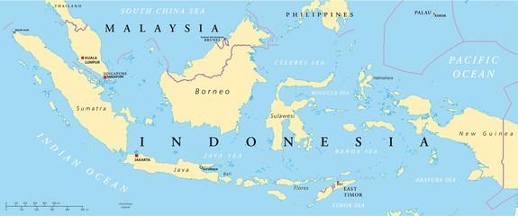 Indonesien und Malaysia Landkarte