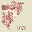 Roses and hearts romantic card