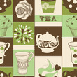 Retro tea and cupcake seamless pattern