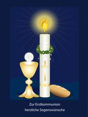 Erstkommunionskarte mit Kerze, Kelch mit Hostie und Brot