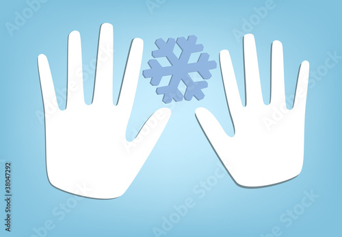 Two Hands and Snowflake. Vector Illustration.