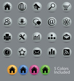 icon set on 5 different colors glossy button.