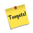 Post-it con chincheta texto Targets!
