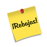 Post-it con chincheta texto ¡Rebajas!