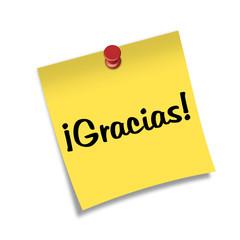 Post-it con chincheta texto ¡Gracias!