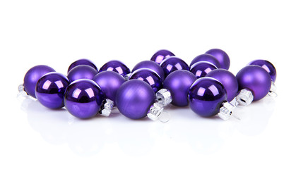 Purple Chrsimas balls over white background