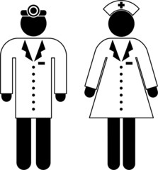 Pictogram of a doctor and a nurse