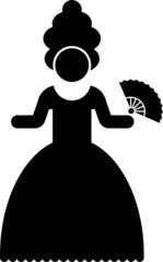 Pictogram of a woman in period costume