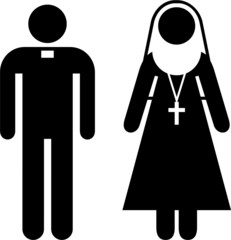 Pictogram of a priest and a nun