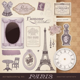 vector set: Paris - romantic ephemera and design elements poster