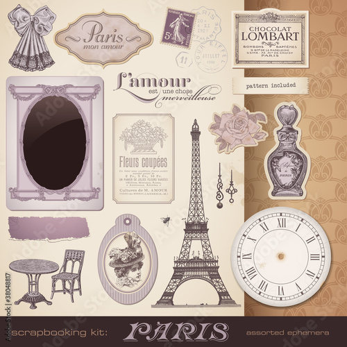 vector set: Paris - romantic ephemera and design elements