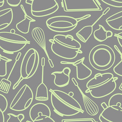 seamless background with kitchen utensil