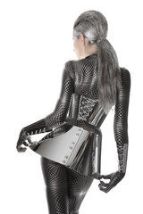 Futuristic Girl in Spandex Catsuit with Shiny Accessories