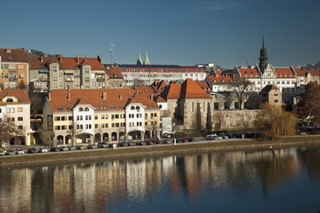 Maribor old city and Drava river in Slovenia.