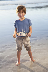 Portrait of smiling boy holding seashells in shirt on beach
