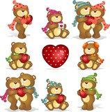 Set- teddy bears heart