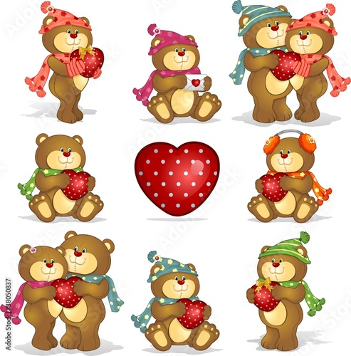 Deurstickers Beren Set- teddy bears heart