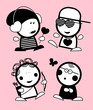 Set of Valentine in love funny peoples icons