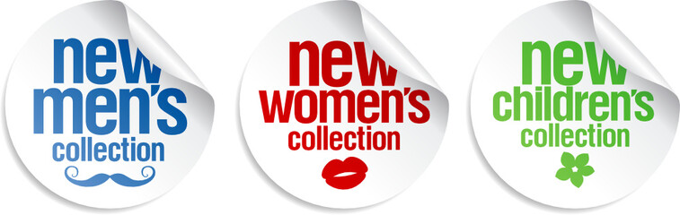 Men`s, women`s and kid`s collection stickers set