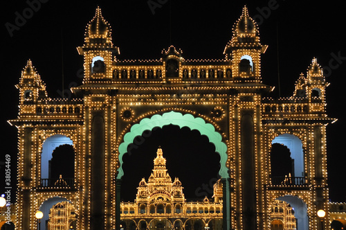 The Mysore Palace at night (India)