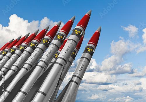 Leinwanddruck Bild Nuclear missiles against blue sky