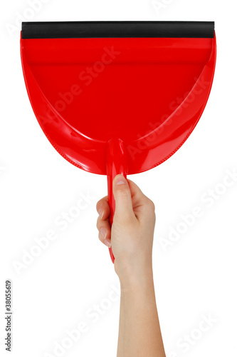 Red shovel to clean the house