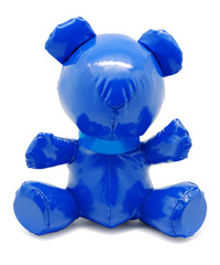Blue latex toy bear isolated on white background