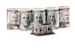 Viele Dollar Geldscheine und Rohbau