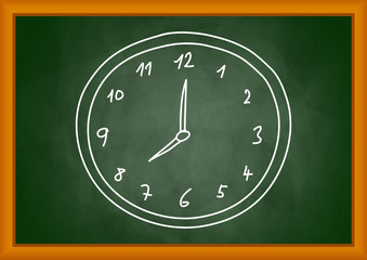Drawing of clock on blackboard