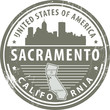 Stamp with name of California, Sacramento, vector