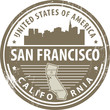 Stamp with name of California, San Francisco, vector
