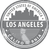 Stamp with name of California, Los Angeles, vector