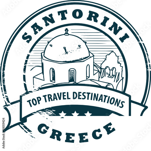 Stamp with Santorini, Greece, vector