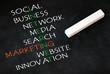 Internet Marketing Konzept auf schwarzer Kreidetafel