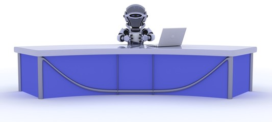 robot sat at a desk reporting the news